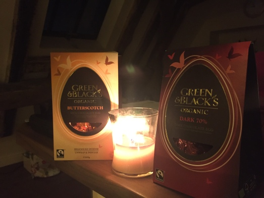 Woodwick candles and Green & Black Easter eggs!